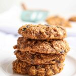 a stack of four oatmeal cookies