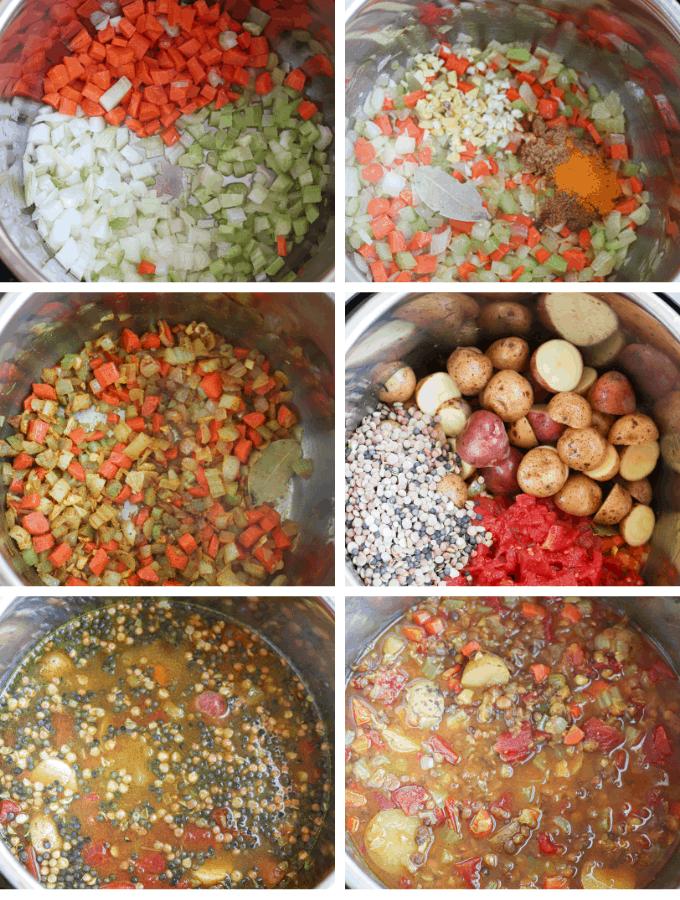 lentil soup making steps in Instant Pot