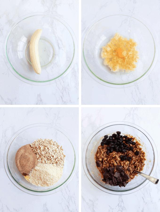 4 steps of making oatmeal cookies