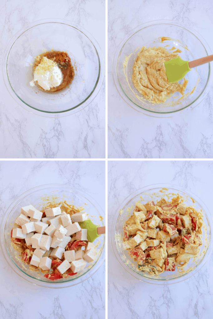 4 stages of marinating tofu and vegetables