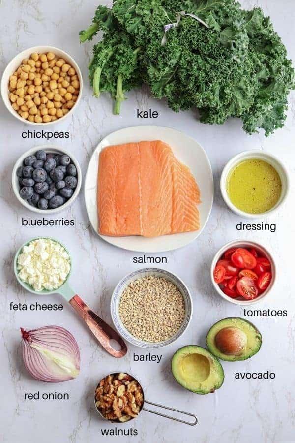 kale and barley salmon salad bowl ingredients