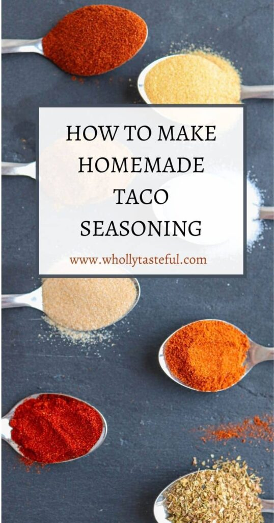 """8 spoons with dry spices and a caption """"How to make homemade taco seasoning"""""""