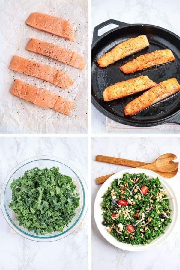 steps of making seared salmon and kale salad