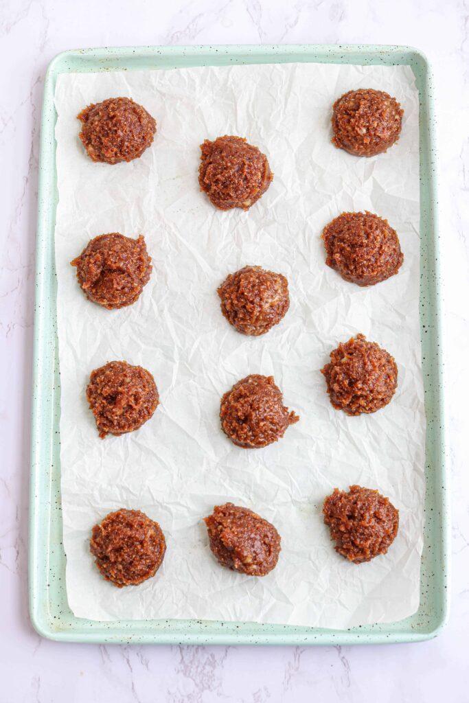 12 flourless peanut butter banana cookie dough balls