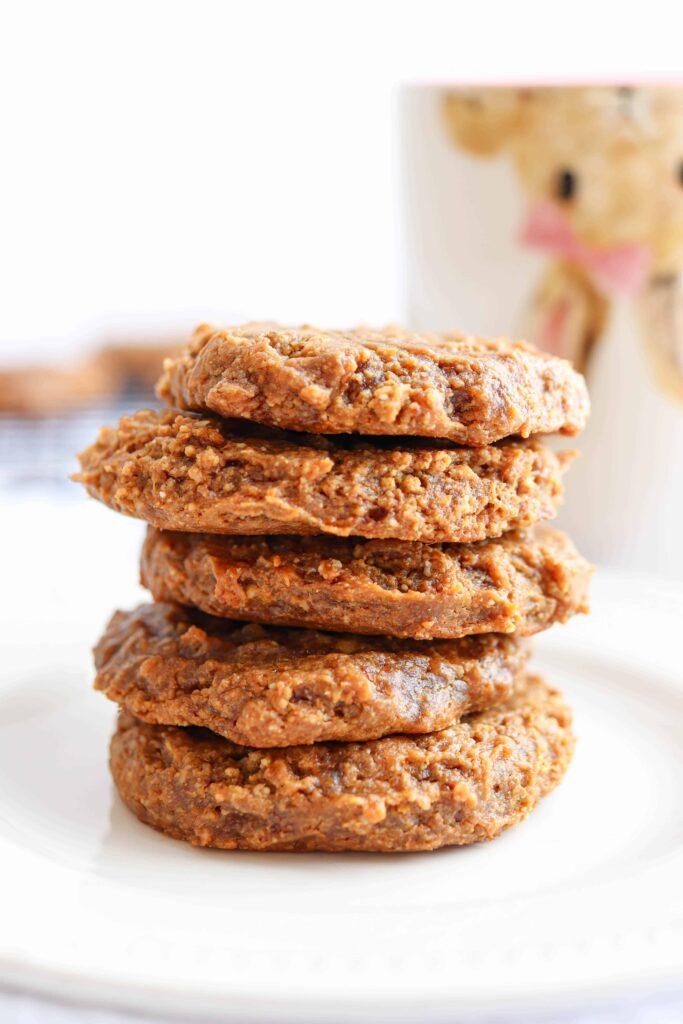 a stack of five peanut butter banana cookies flourless