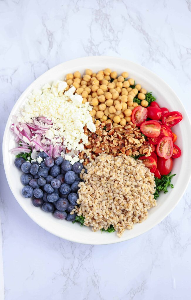 salad bowl with blueberries, barley, feta cheese, tomatoes and red onions