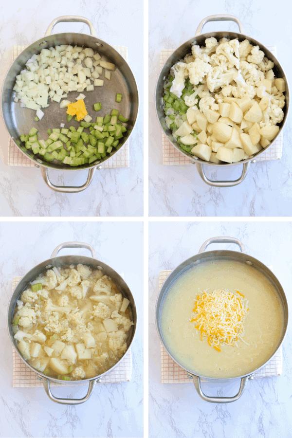 4 steps of making healthy loaded potato cauliflower soup