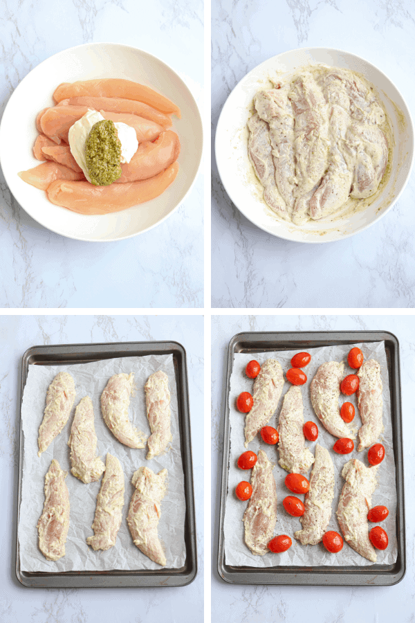 four steps of making chicken caprese sheet pan