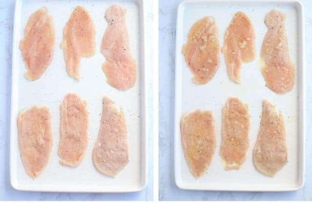side by side photos of thin sliced chicken breast with and without melted butter and garlic on a white baking sheet
