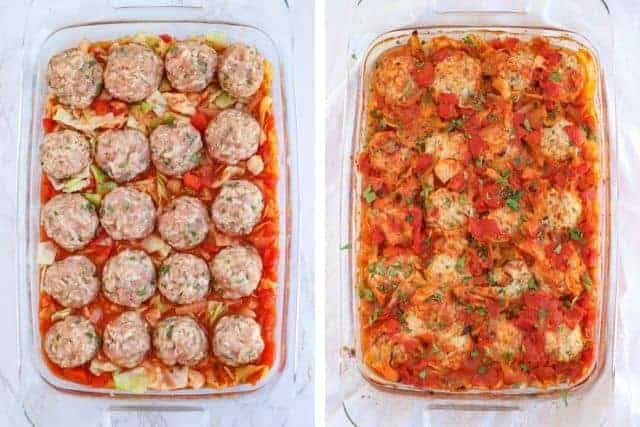 side by side pictures of unbaked and baked unstuffed cabbage rolls in tomato sauce