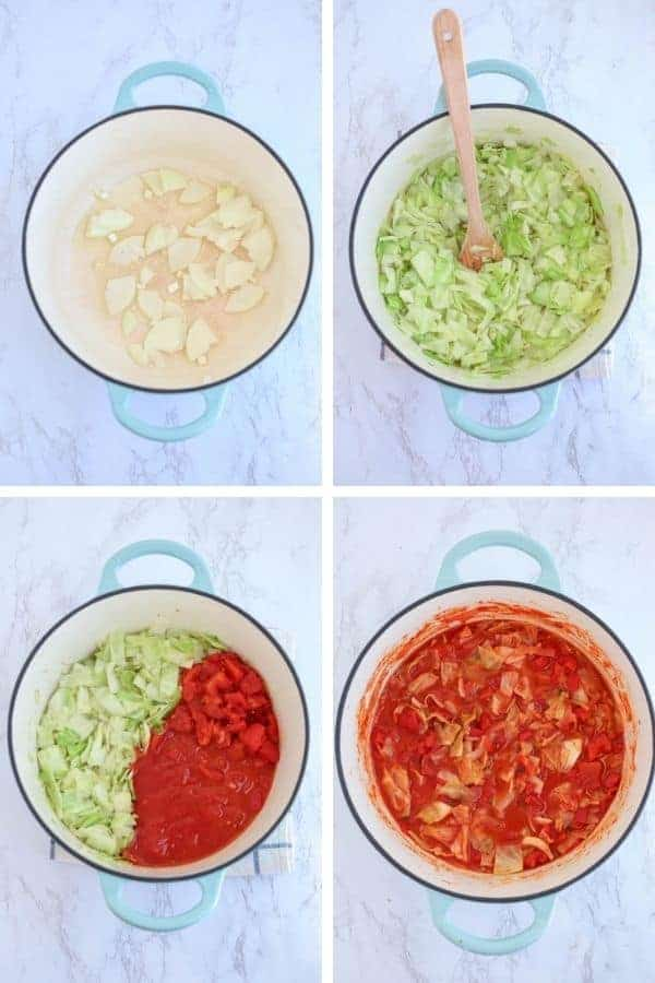 four steps of making unstuffed cabbage rolls