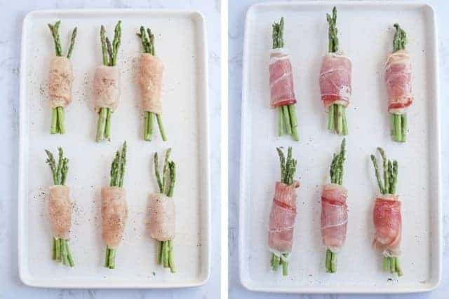 side by side photos of asparagus stuffed chicken with and without prosciutto wrapping