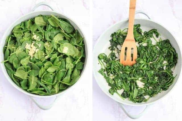 spinach before and after cooking on a light blue skillet side by side