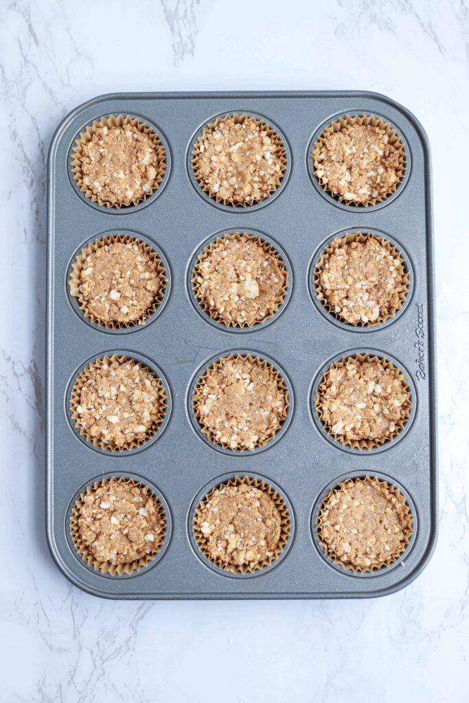 rice almond butter cups in a mini muffin tin