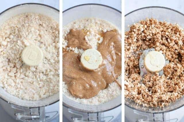 three steps of making almond butter rice cups with chocolate