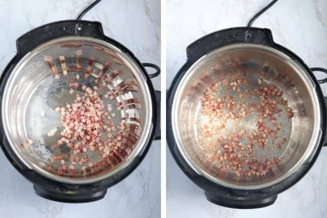 side by side photos of cooking pancetta in an Instant Pot