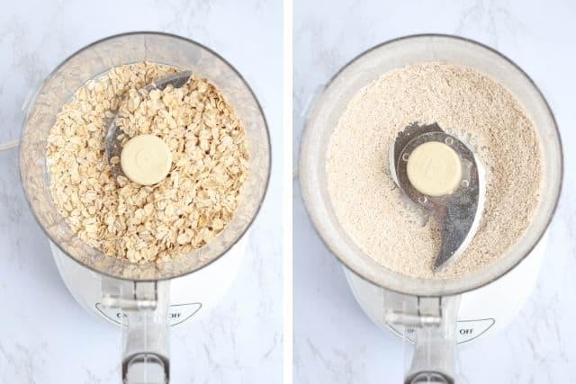 rolled oats and oat flour in food processor, side by side photos