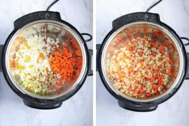 Side by side 2 photos of cooking onion, carrots and celery in an Instant Pot