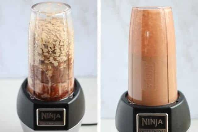 two side by side photos of a blender with peanut butter chocolate baked oats before and after blending