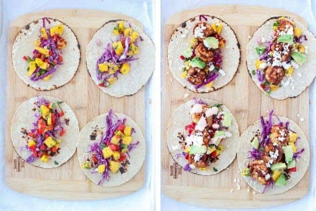 4 shrimp tacos being assembled on a wooden board, 2 side by side photos