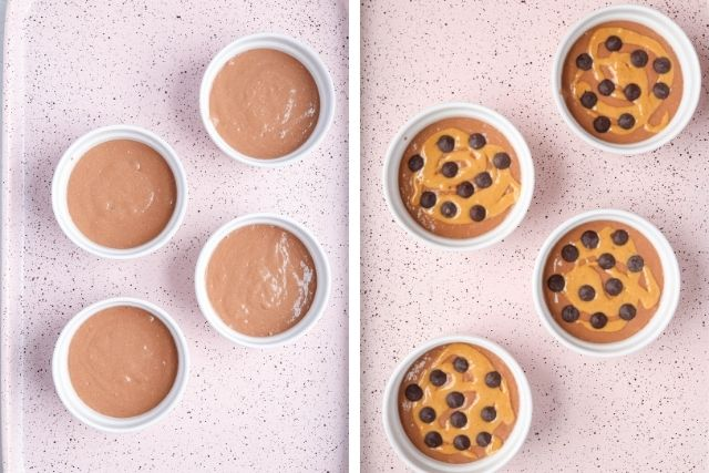 side by side photos of four white ramekins with blended baked oats batter on a pink background. Batter on the left is plain, on the right it's decorated with peanut butter swirl and chocolate chips