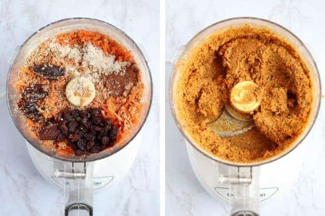 before and after side by side photos of carrot cake bar ingredients and dough