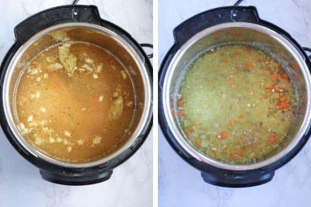 final stages of making Instant Pot split pea and ham soup, side by side photos