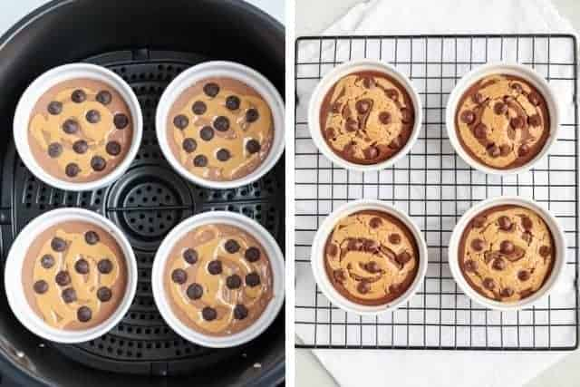 four white ramekins with peanut butter chocolate baked oats before baking in the black air fryer and after baking cooling on a black rack