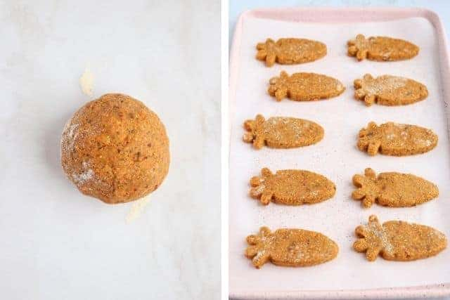 carrot cake dough ball and carrot shaped bars on white background, side by side photos
