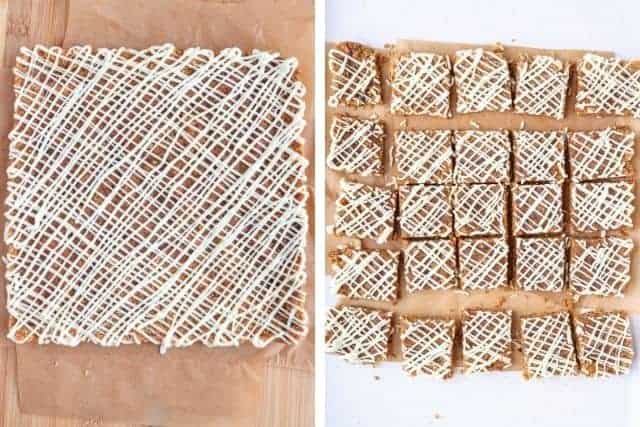 side by side photos of carrot cake bars with white chocolate drizzle before and after cutting into squares