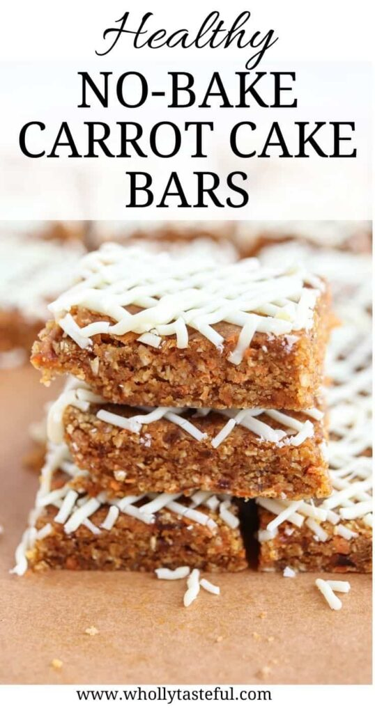 carrot cake bars in a stack of three on brown paper