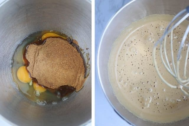 eggs and coconut sugar before and after beating in a KitchenAid bowl, two photos side by side