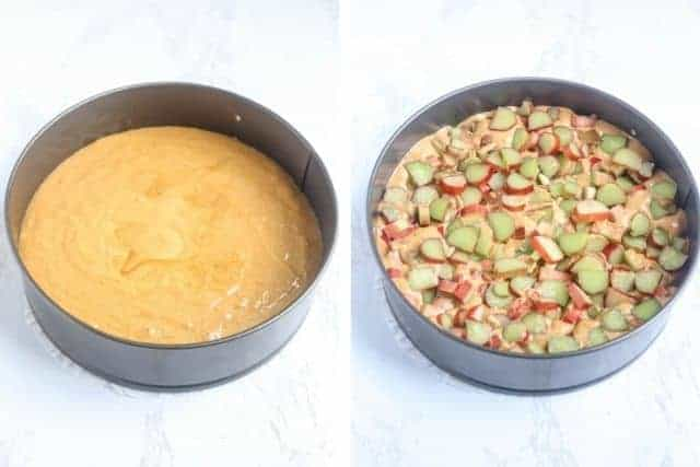 two side by side photos of cake batter in a spring form without and with rhubarb on white marble counter