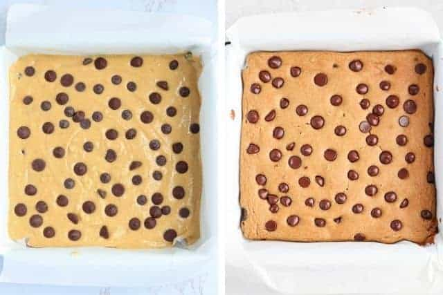 2 side by side photos of chickpea blondies before and after baking