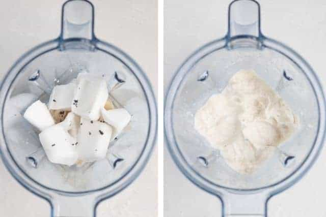 side by side view of prepared ingredients in a blender before and after blending