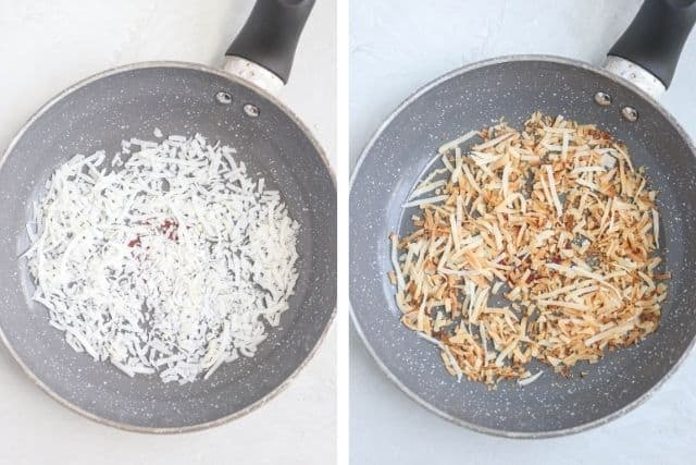 shredded coconut being toasted in a skillet