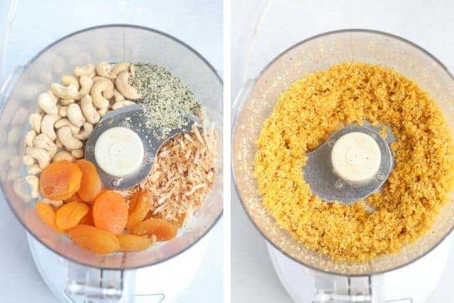 blending apricots, cashews, coconut and hemp seeds in a food processor