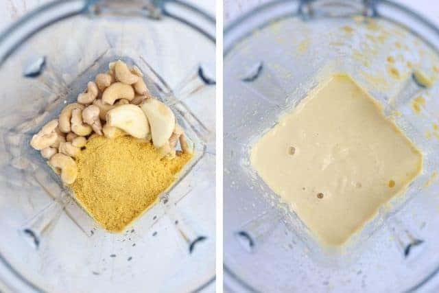 creamy cashew sauce in a blender, before and after blending