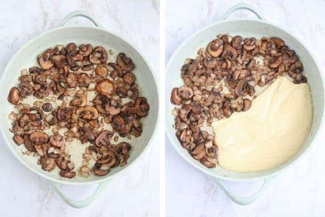 cooking mushrooms in a skillet, before and after adding cashew cream