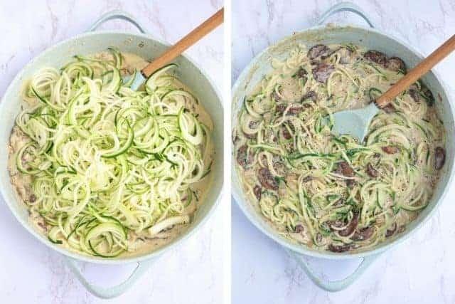 spiralized zucchini cooking with creamy mushroom sauce
