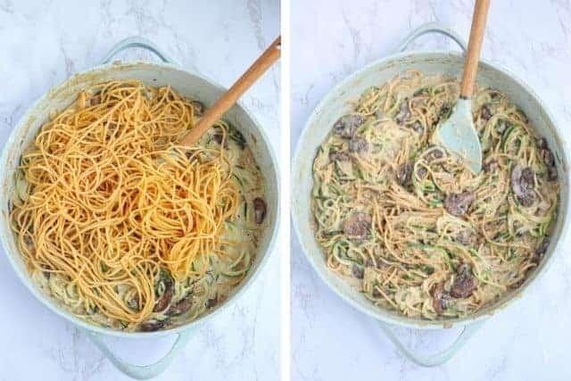 creamy mushroom zucchini spaghetti in a light blue pot, two photos side by side