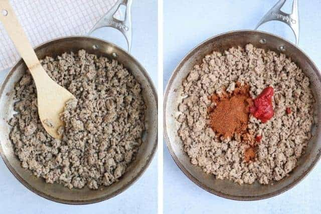 cooking ground turkey in a skillet before and after adding spices