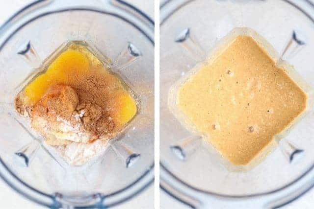 blending eggs, pumpkin, pumpkin spice and baking powder in a standup blender, before and after blending
