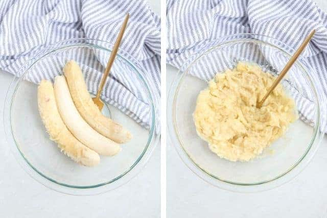 mashing bananas in two steps in a glass bowl