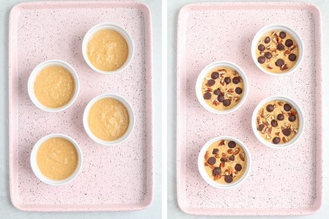 four white ramekins with blended pumpkin oats before and after baking on a pink baking tray