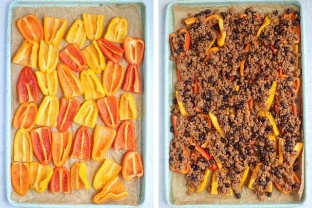 mini peppers laid out on a baking tray before and after adding meat and beans