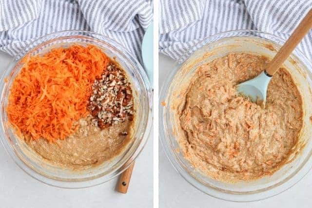 banana carrot oat muffin batter with added shredded carrots and chopped pecans
