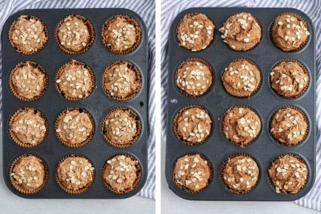 banana carrot oat muffins before and after baking