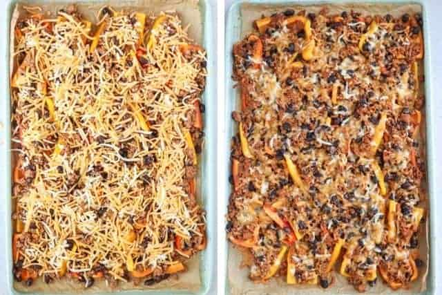 mini pepper nachos before and after adding cheese
