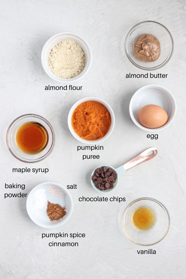 pumpkin mug cake ingredients laid out on a gray surface in round dishes with labels